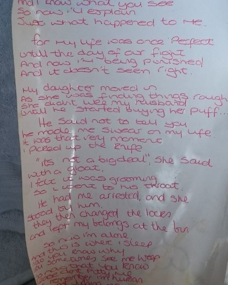 The handwritten poem K uses to tell her story. Picture: Loretta Thomas
