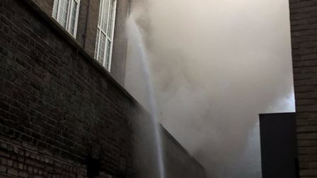 Firefighters tackle the blaze in London Met's Tower complex. Picture: London Fire Brigade