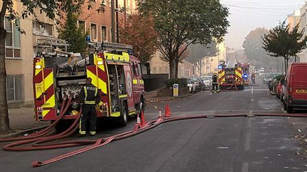 Firefighters in Benwell Road. Picture: London Fire Brigade