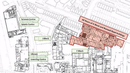 London Metropolitan University has released a map of restricted areas (in red) following yesterday's
