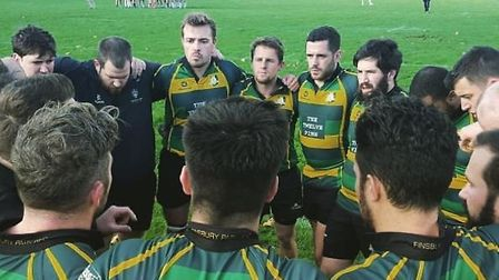 Finsbury Park's first-team have a huddle after defeating Harlequin Amateurs last weekend (pic: Finsb