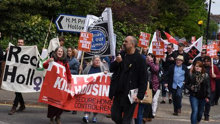 Protesters marched on Holloway Prison in May last year to demand the site is replaced by council hou