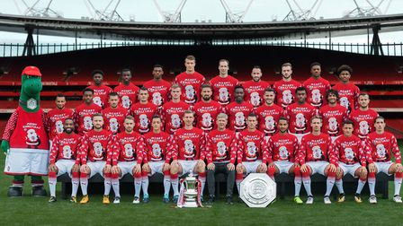 Arsenal players launch the club's Christmas jumper appeal at Emirates Stadium. Picture: Stuart MacFa