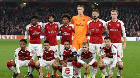 The Arsenal team line-up before playing Red Star Belgrade. PA