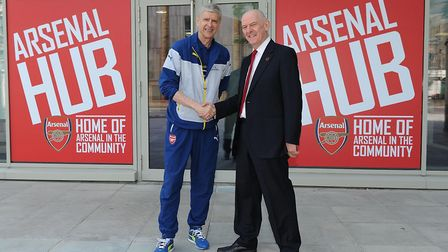 Arsene Wenger and Alan Sefton open the Arsenal in the Community hub in Benwell Road in 2015. Picture