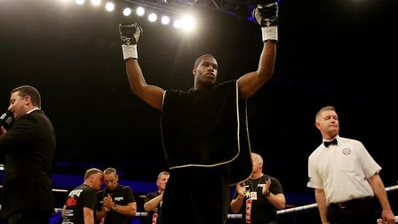 Daniel Dubois celebrates after knocking out A.J Carter at the Copper Box in September (pic: Scott He