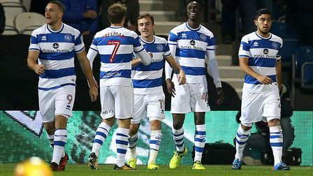 Queens Park Rangers celebrate Idrissa Sylla's opener against Sheffield United in the Championship (p