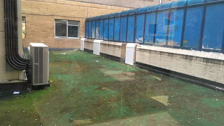 The patch of land at the Whittington Hospital needs restructuring and resurfacing work. Picture: L S