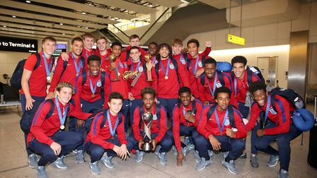 England's under 17's, including Tashan Oakley-Boothe (first row, second in from right) and Timothy E
