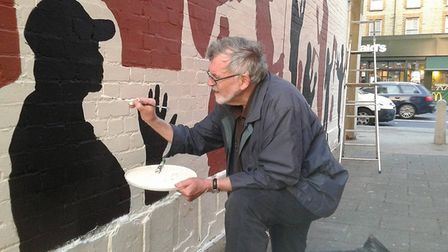 Cricklewood artist, Kevin Vincenzo Keating painted silhouettes of Cricklewood locals