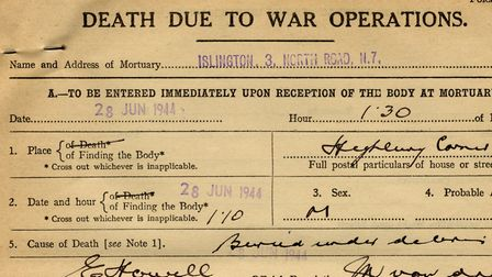 A mortuary incident record, dated June 28, 1944, for one of the Highbury Corner bomb fatalities. Pic