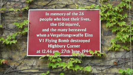 A commemorative plaque in Highbury Corner for the 1944 bomb casualties. Picture: David Holt/Flickr/C