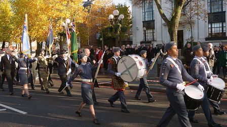 Last year's Islington Remembrance parade passes the town hall on its way to Islington Green. Picture