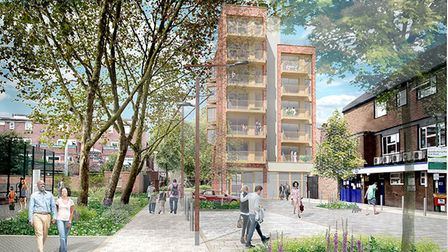 An artist's impression of one of the new blocks, as seen from Seven Sisters Road. Picture: Studio Pa