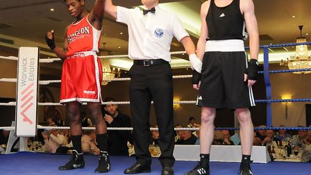 Islington's Azeem Bakare celebrates his latest victory on the club's dinner show (pic Dieter Perry)