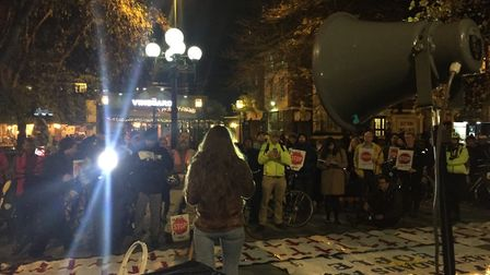 Cycling activists during the vigil outside Islington Town Hall last night. Picture: Caroline Russell