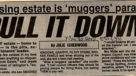 An Islington Gazette article from July 1993 about the Andover Estate, which Islington Tenants Liaiso
