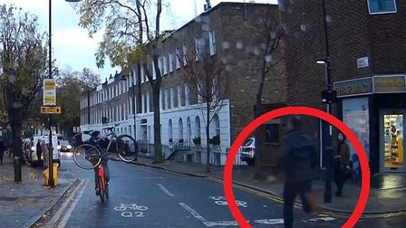 Chris (circled) chases after the suspected bike thief.