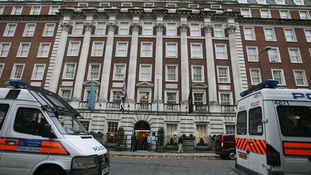 Police officers outside the Millennium Mayfair Hotel in central London, where former Russian spy Ale