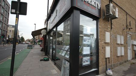 Moped raiders tried and failed to smash their way into Liberty Estate Agents in Stroud Green Road, F