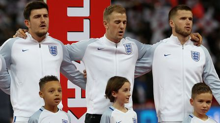 England's Harry Maguire (left), Joe Hart (centre) and Eric Dier before the Bobby Moore Fund Internat