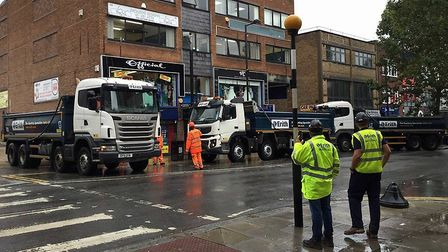 Lorries being used for the City North development have taken over the street. Picture: Andrew Pascha
