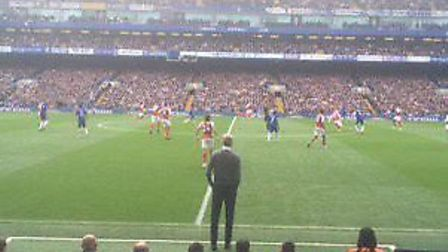 Wenger looks on at Stamford Bridge during the 0-0 draw with Chelsea in September. Picture @laythy29