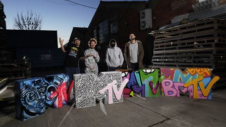 London artists, including Hunto from Brent, with their personalised MTV EMAs pop-up installations