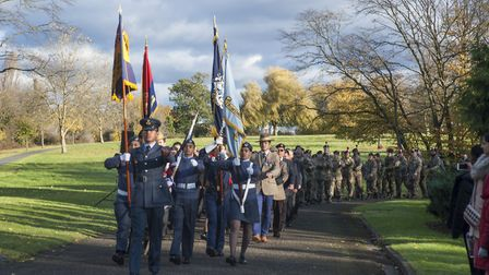 The Remembrance Sunday parade in Barham Park