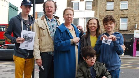 Supporters of the petition at the crossroads on the Holloway Road. Picture: ANDREW SPENCER