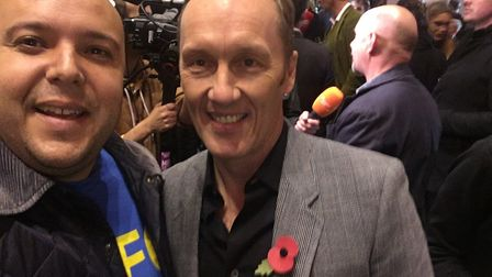 Layth Yousif with Arsenal legend Lee Dixon