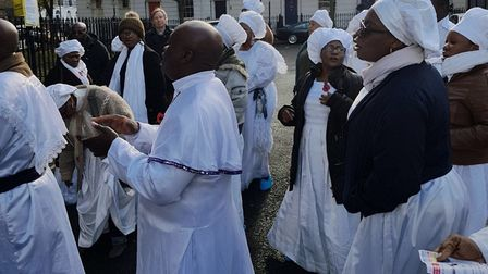The Celestial Church of Christ held a protest on Sunday following eviction from its Cloudesley Squar