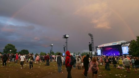 A rainbow over the main stage at Wireless Festival 2014 in Finsbury Park. Picture: Yui Mok/PA Archiv