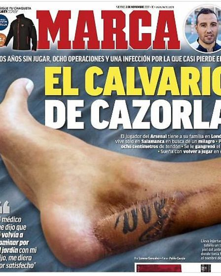 Santi Carzorla's ankle - the front page of Marca