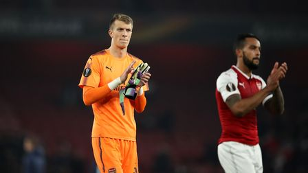 Arsenal goalkeeper Matt Macey thanks the fans after the final whistle during the UEFA Europa League