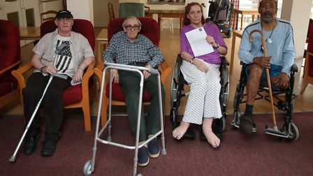 Disabled and elderly residents in sheltered housing at Belmore House, pictured last year. Left to ri