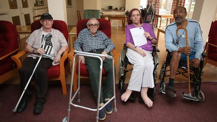 Disabled and elderly residents in sheltered housing at Belmore House taken last year. Terry Oyston,