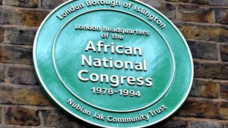 A plaque on the site of 28 Penton Street, the London headquarters of the African National Congress f
