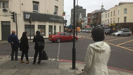 The crossing on Palmer Place where the street meets Holloway Road.