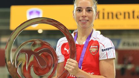 Jordan Nobbs with the Continental Tyres Cup Final trophy in 2015 (pic Nigel French/PA)