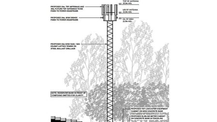 A design of tower phone mast planned for Welsh Harp