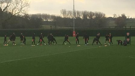 The Arsenal team tookk part in a light training exercise at London Colney on Wednesday morning. Cred