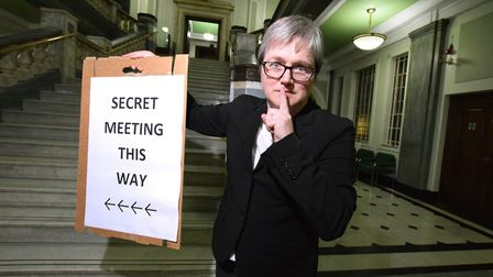 Cllr Caroline Russell points the way to the 'secret' meeting from which she was uninvited at Isling