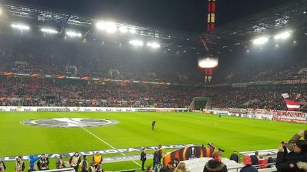 The atmosphere builds in Stadion Koln before kick off in their Europa League match against Arsenal.