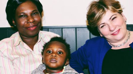 Emily Thornberry MP pictured at the launch of the Unity Project with a woman who came to the UK from