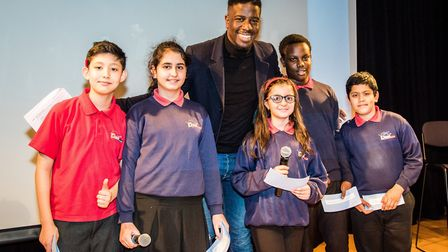 Jermain Jackman with pupils from Duncombe Primary School debating society earlier this year. Picture