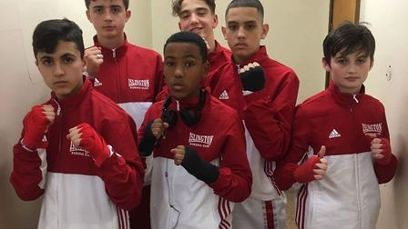 Islington BC youngsters at the East London Boxing Academy show (pic Reggie Hagland)