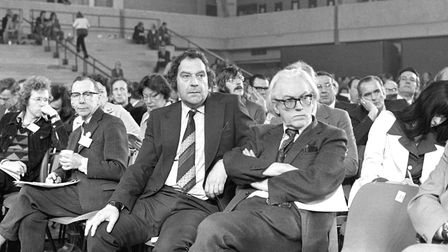 Bryan Stanley (left, striped tie), union leader, and Michael Foot (spectacles, right), employment se