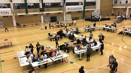 The count at the Sobell Leisure Centre in Finsbury Park. Picture: Sam Gelder