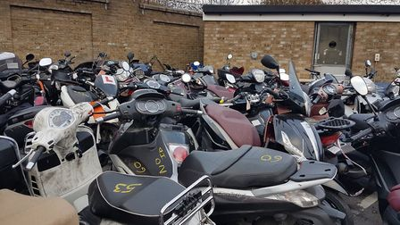 These stolen or abandoned mopeds have been taken off the streets of Islington and Camden. Picture: I